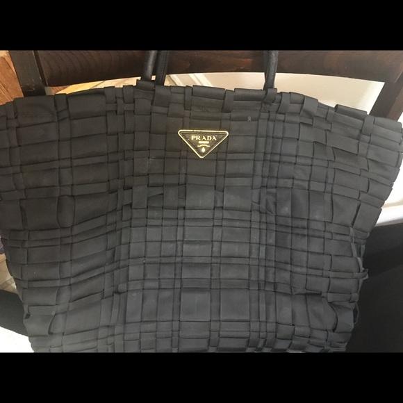 5fef1da9c420 Prada tote bag pre own black woven nylon great. M_5a9355952ae12f275088b589